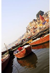 Boats on ghats, Varanasi, North India