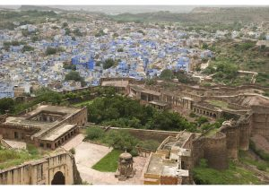 View of Jodhpur Rajasthan, from the high walls of Mehrangarh Fort, North India